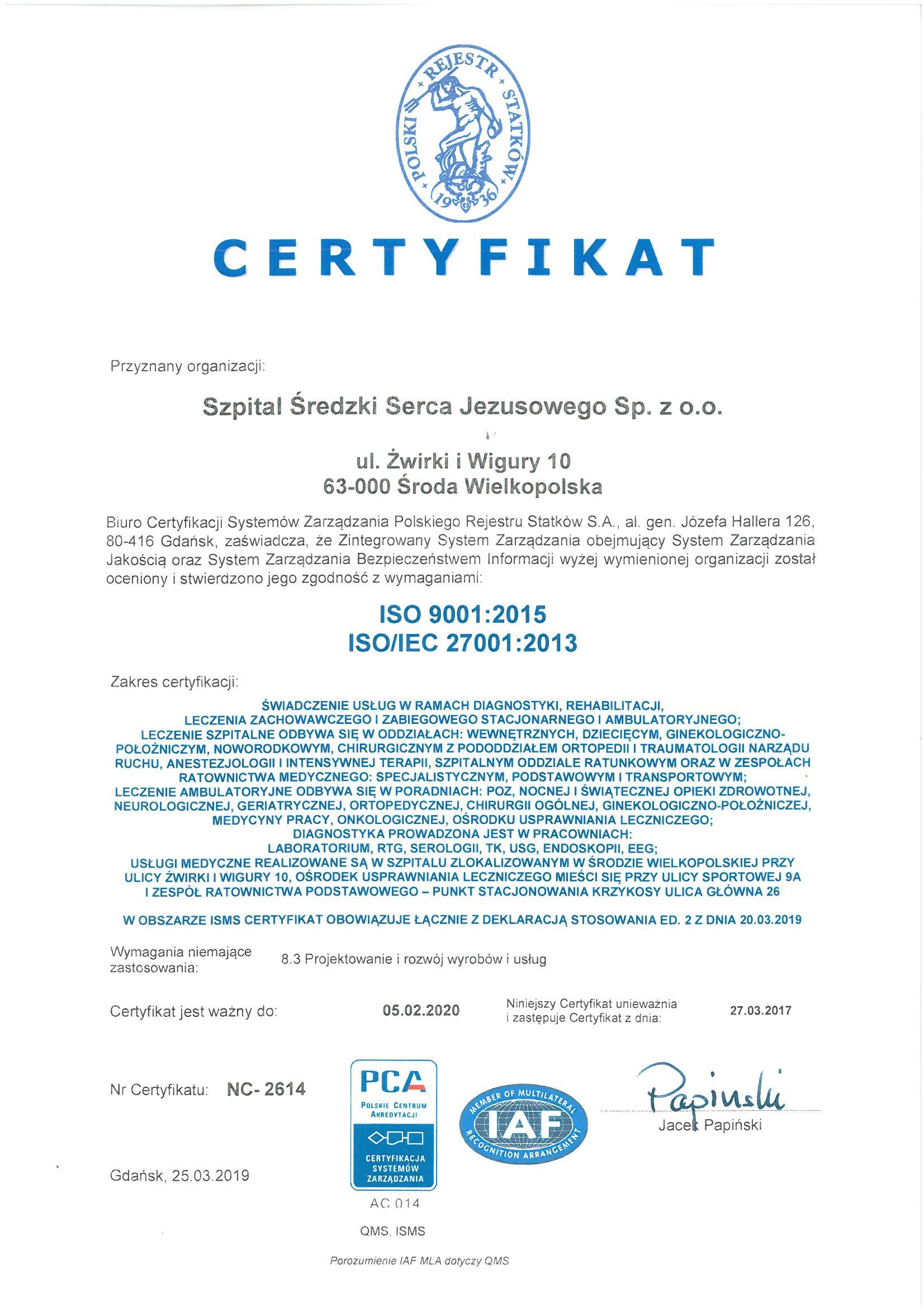 Certyfikat ISO2015