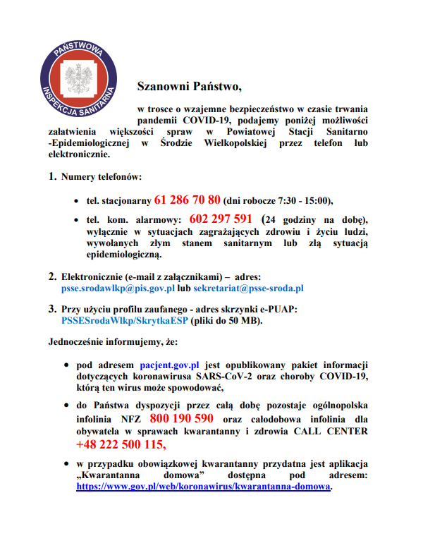 PSSE – kontakt COVID-19